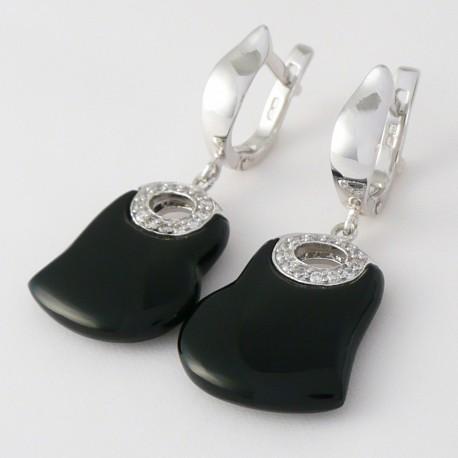 Stříbrné náušnice s onyxem srdce