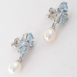 Stříbrné náušnice s perlami a topazy