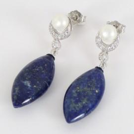 Stříbrné náušnice s lapisem, perlami a zirkony